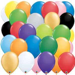 Colorful 12 inch latex balloons. Available in gold, silver, black, red, green, blue, yellow, orange, and pink.